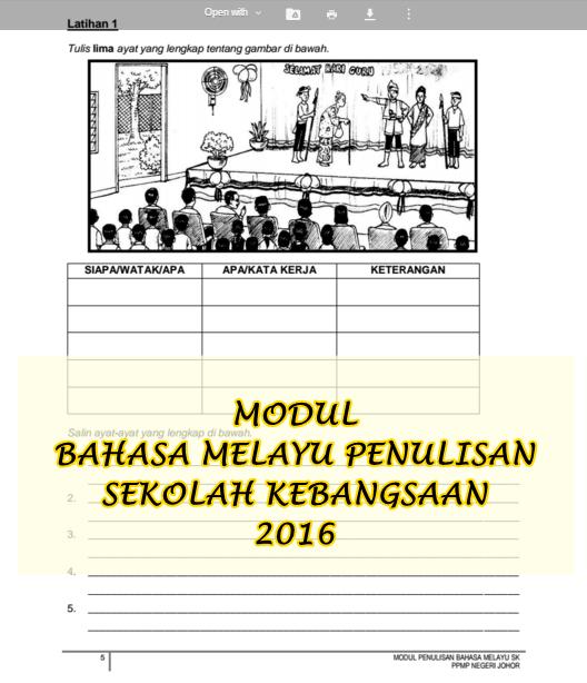 Bahasa Melayu UPSR 2016   Penulisan UPSR Modul 2016 PPMP JOHOR