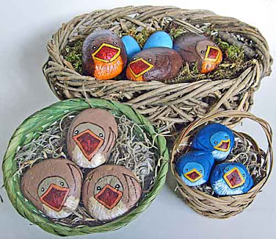 baskets, collection, painted rocks, baby birds, rock painting, Cindy Thomas