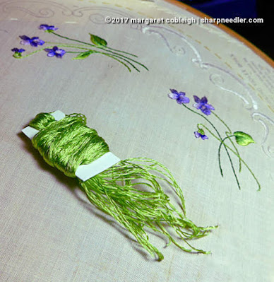 Society Silk Violets: embroidered violets with some refelctive antique silk thread