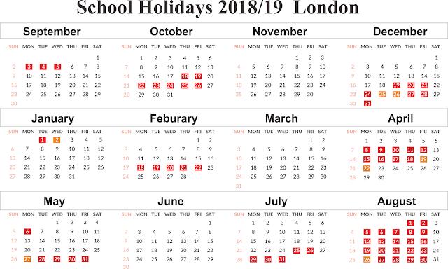 Printable Calendar 2019 London Free