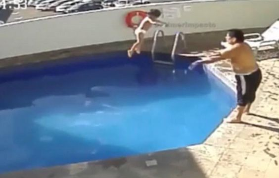 Video:Man caught on CCTV drowning his stepdaughter in a hotel pool, sentenced to 100 years in prison