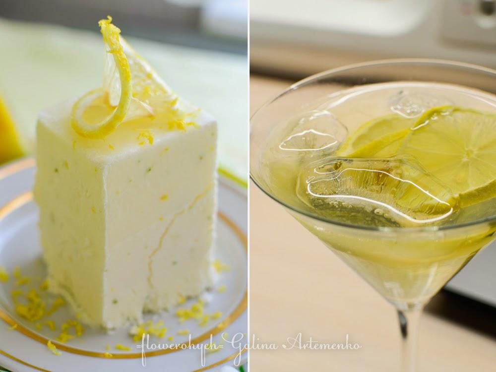 десерт семифредо с лимоном, лаймом и вермутом