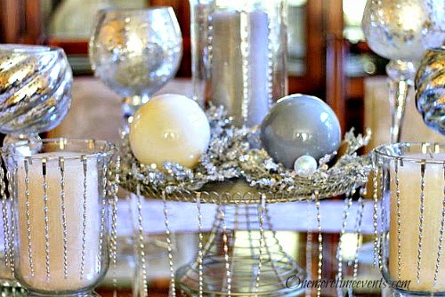 Using Ornaments and Mercury Glass for Christmas Centerpiece at One More Time Events.com