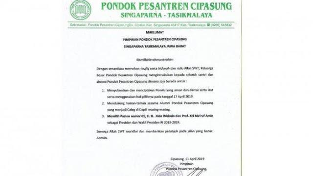 Kiai Ponpes Cipasung Instruksikan Santri dan Alumninya Pilih Jokowi-Kiai Ma'ruf