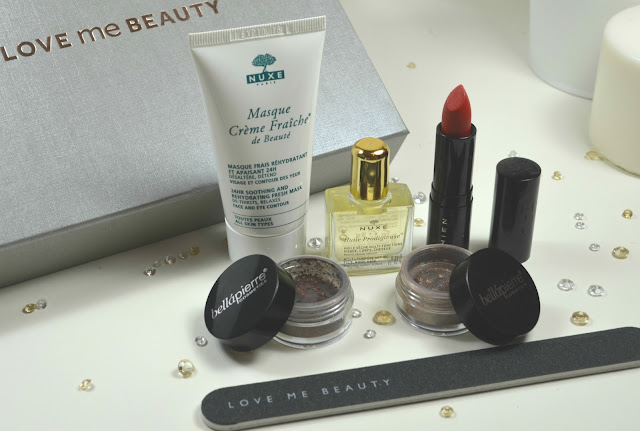 Love Me Beauty - Beauty Box - review - swatches - Nuxe - face mask - face oil - body oil - shien - red lipstick - beauty - Make up - Bellapierre - shimmer powder - eyeshadow