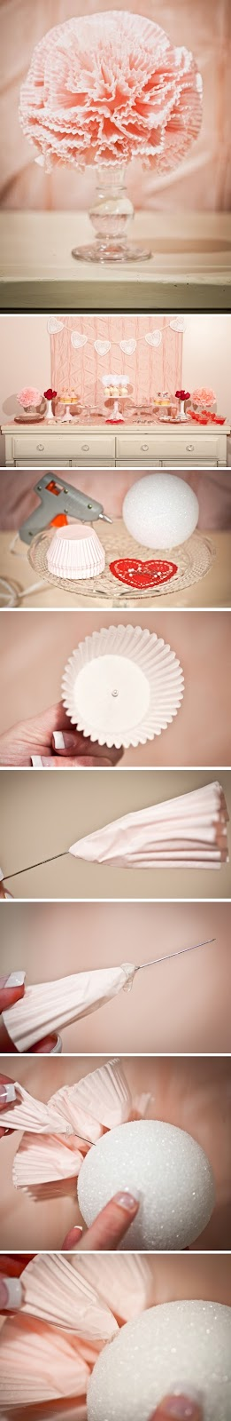DIY cupcake liner tutorial floral pomander for a wedding