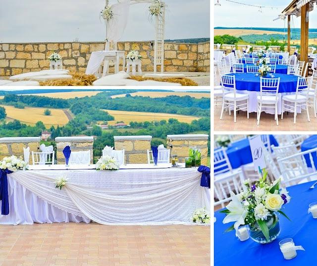 сватба в синьо на открито
