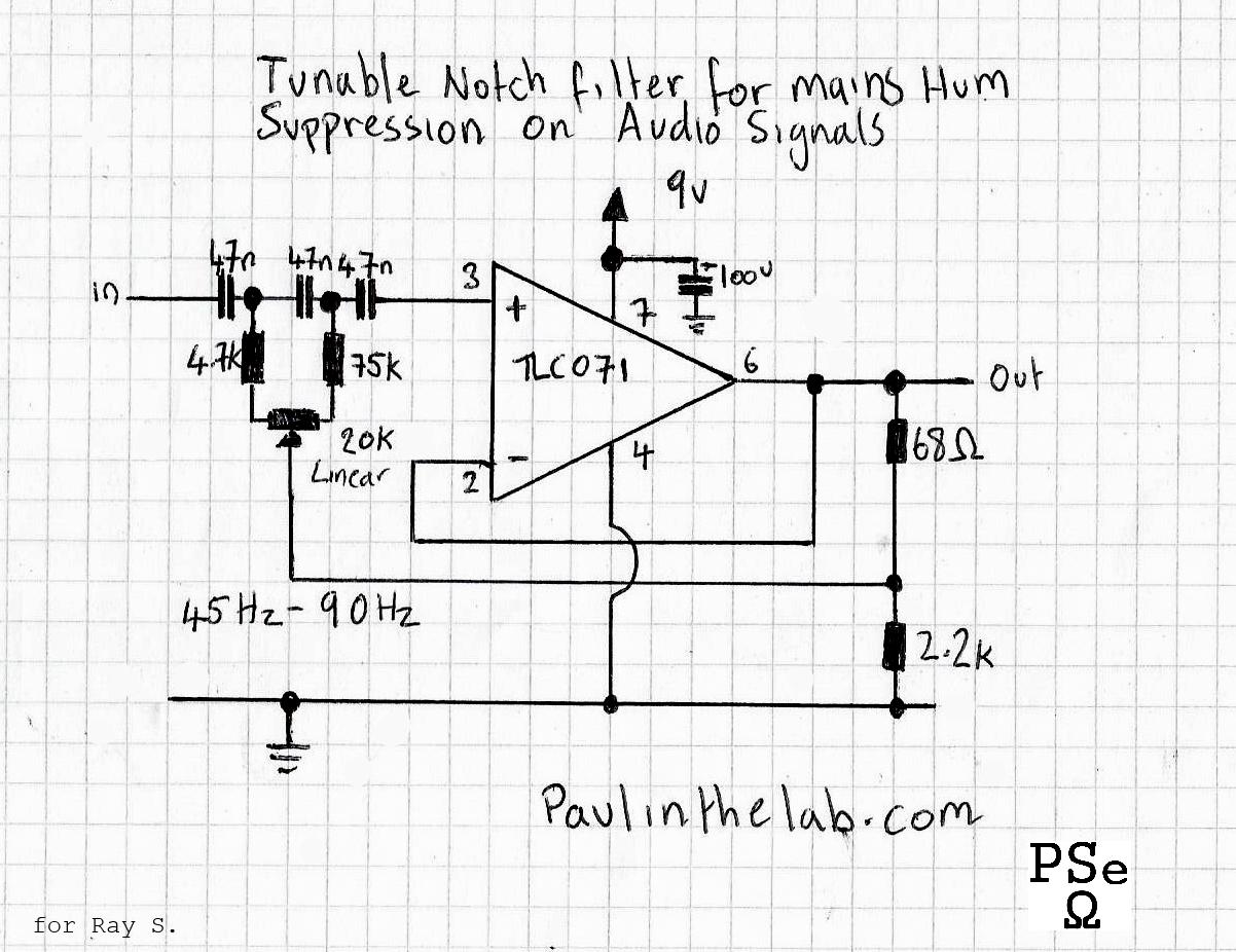 Notch Filter Circuit Diagram Tradeoficcom Wiring Transistor Hum Filtercircuit World Tunable To Suppress