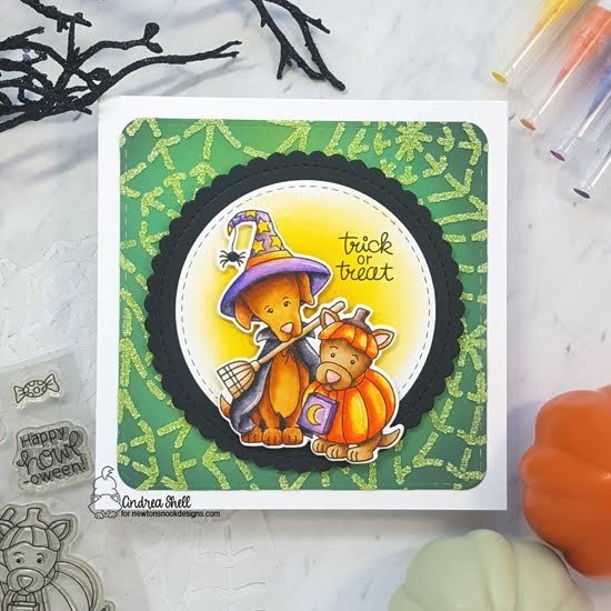 Trick or Treat Dog Card by Andrea Shell | Happy Howl-oween Stamp Set, Spiderweb Stencil, Circle Frames Die Set and Frames Squared Die Set by Newton's Nook Designs #newtonsnook #handmade