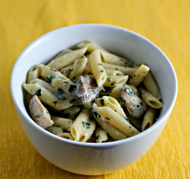 Quick Chicken Stroganoff Penne Pasta.  Easy Weeknight Meal.  Dinner in under 30 minutes!