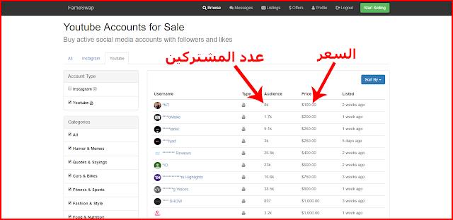 تعرف على هذا الموقع لبيع وشراء قنوات اليوتيوب وحسابات الانستجرام بآلاف المتابعين وبأسعار مناسبة