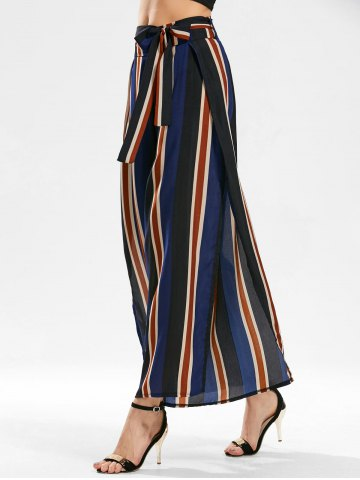 Stripe Side Slit Zippered Wide Leg Pants - Blue - Xl