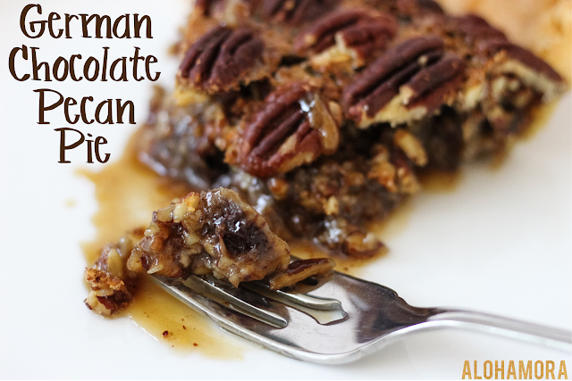 German Chocolate Pecan Pie.  A classic pecan pie with a delicious chocolate coconut twist.  Easy to make, homemade from scratch, and oh so delicious!  Original recipe. Alohamora Open a Book http://alohamoraopenabook.blogspot.com/