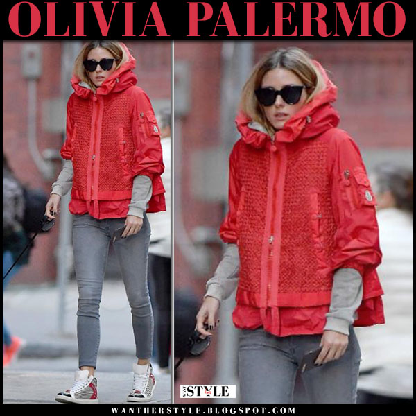 Olivia Palermo in red hooded puffer moncler jacket, grey skinny jeans and striped sneakers max and co what she wore walking her dog casual