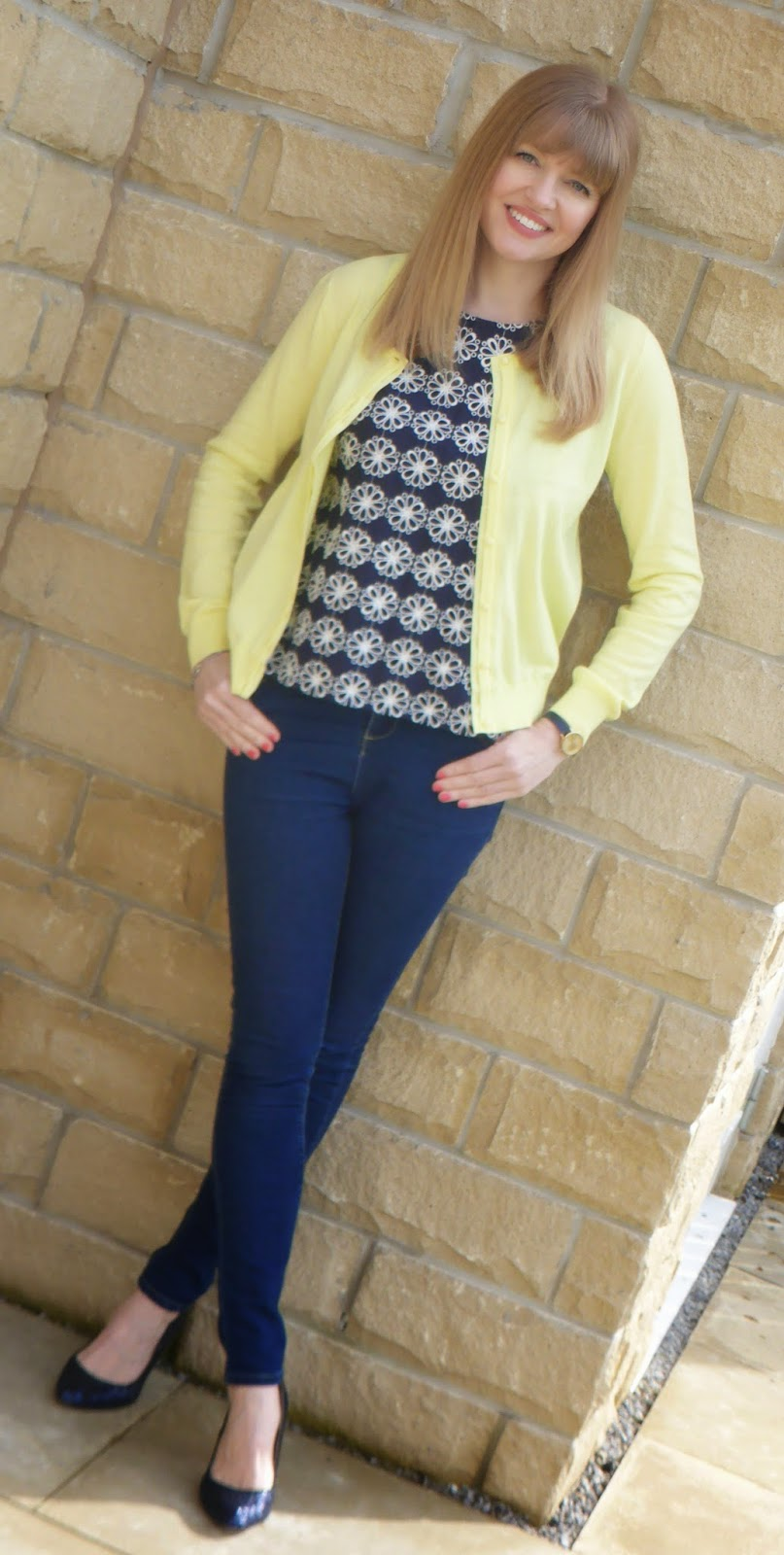 What Lizzy Loves, over 40 blogger, 40 plus style, navy broderie top, lemon cardigan, navy sequin shoes