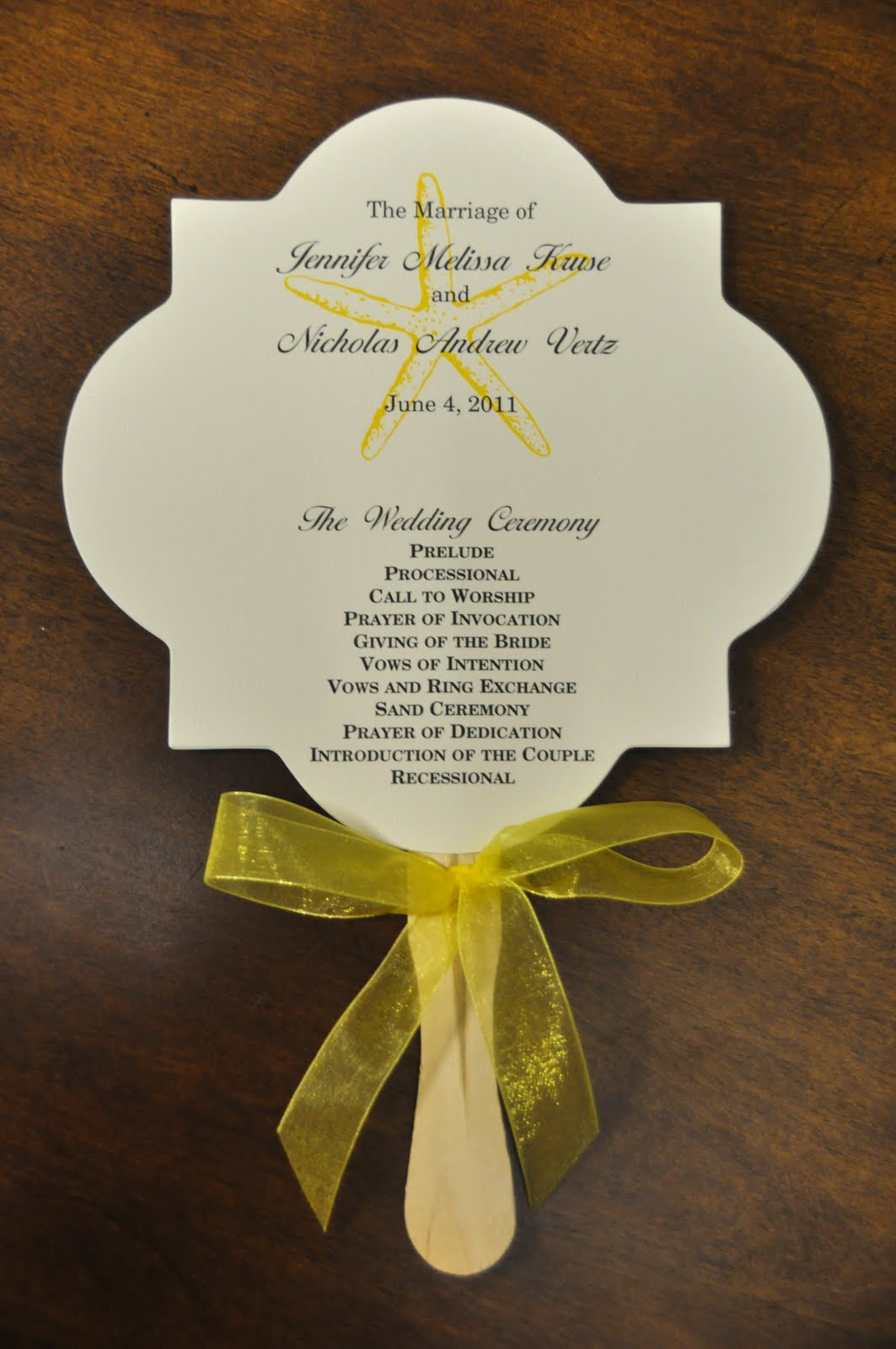 Sample Wedding Programs: March 2011