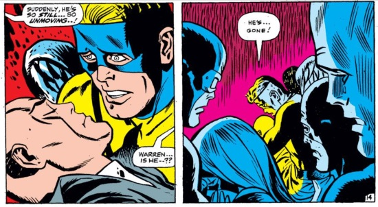 Two panels. In the first, a blue-masked blonde white man, Angel, hovers over the still form of a bald white man. Someone off panel says, 'Suddenly, he's so still... so unmoving...!' Another person off panel says, 'Warren... is he...?!' In the second panel, a sea of blue-tinted faces frame Angel as he says, 'He's... gone!''