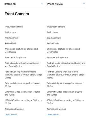 kamera depan iphone xs dan xs max