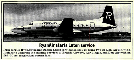 Ryanair announcement 1986