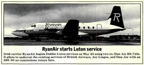 Ryanair announcement 1986
