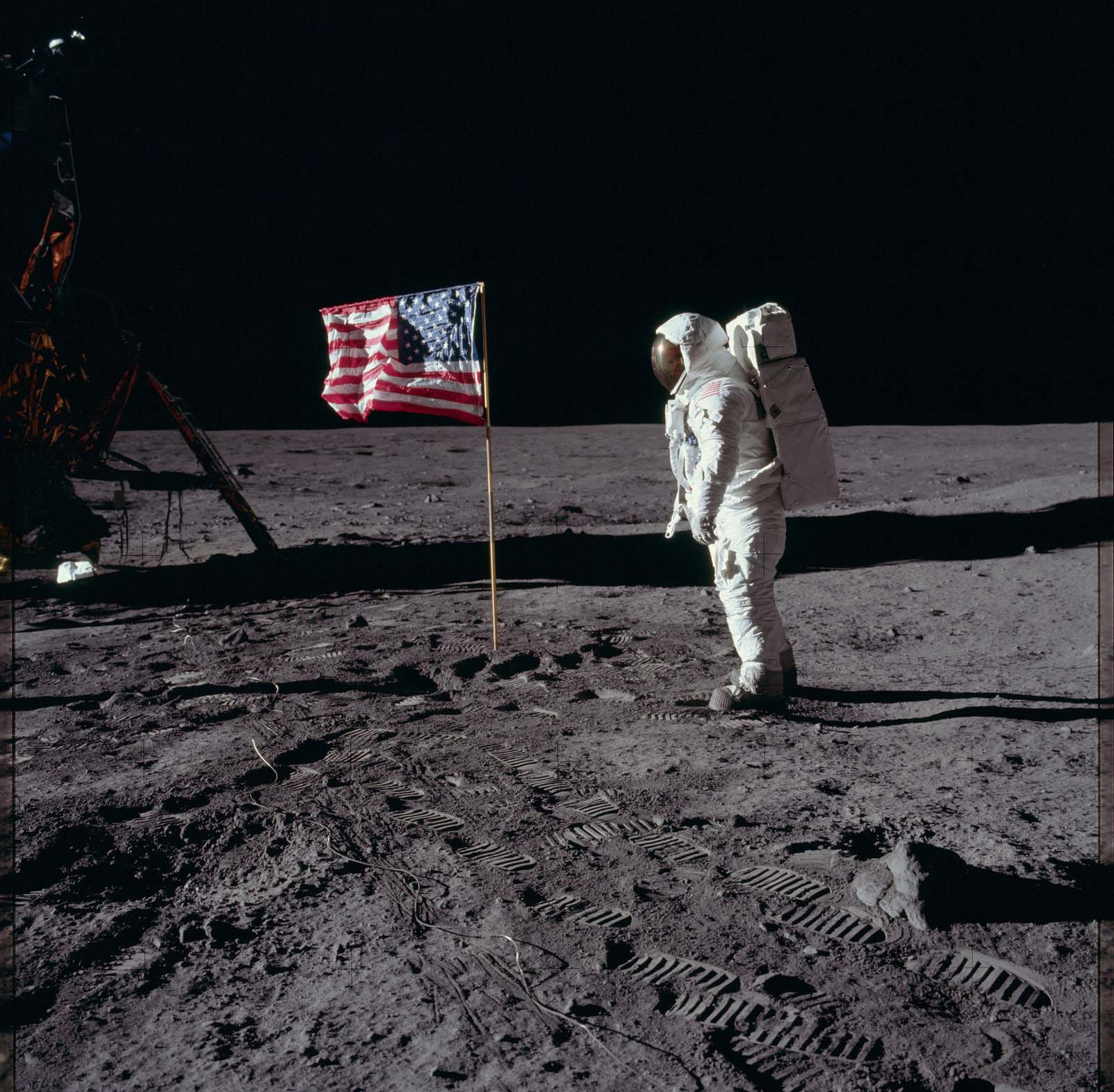 Apollo 11 astronaut Edwin Buzz Aldrin poses with the US flag planted on the Sea of Tranquility. If you look closely, you can see Aldrin's face through his helmet visor.