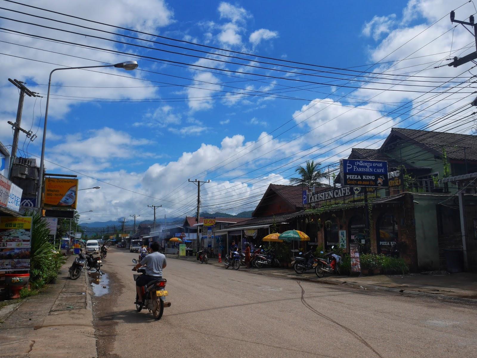 the main road in vang vieng, laos