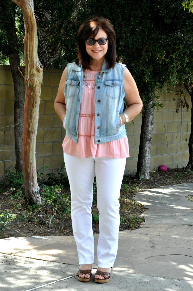 white jeans and peach peplum