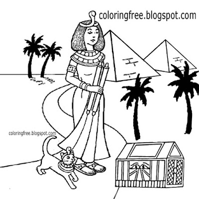 Gold regal treasure trunk Egyptian Pyramids of Giza pyramid drawing to color royal girl and cute cat
