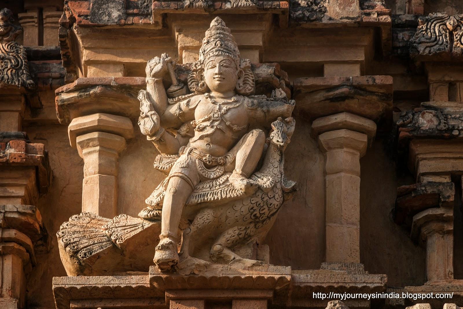 Thanjavur Brihadeeswarar Temple Tower sculptures Subramanya