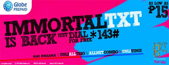 "Globe Telecom: Offers Exclusive on *143# and Brings Back the ""Immortal"" Promo for Prepaid Subscribers"