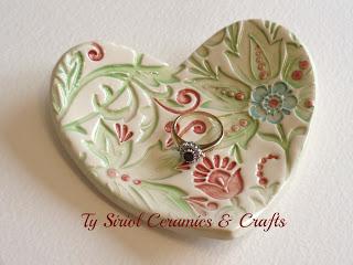 Ty Siriol Ceramics ring dish. Handmade and hand painted.