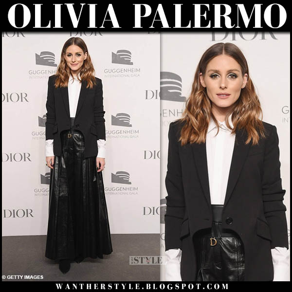 Olivia Palermo in black leather pleated dior maxi skirt and jacket red carpet style november 15