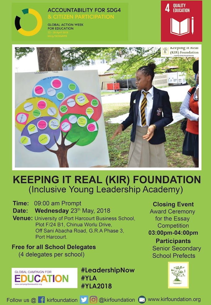KEEPING IT REAL(KIR) FOUNDATION INCLUSIVE YOUNG LEADERSHIP ACADEMY 2018