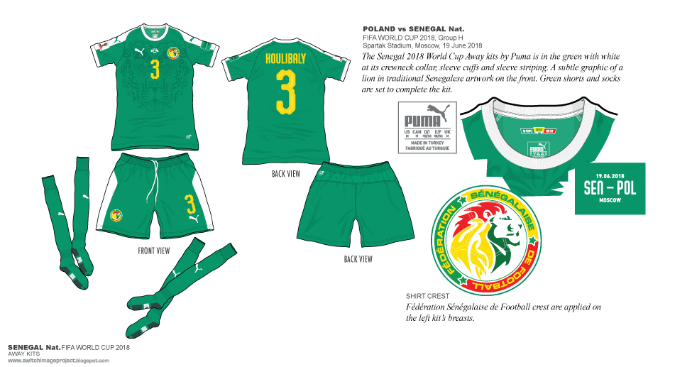 The Senegal 2018 World Cup Away kits by Puma is in the green with white at  its crewneck collar 54e4ddcc3