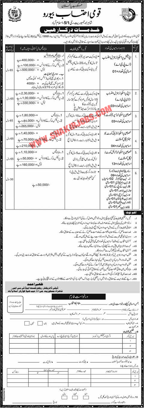 National Accountability Bureau (NAB) Jobs March 2020