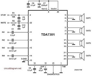 AMPLIFIER CIRCUIT SCHEMATIC DIAGRAM | SKEMA RANGKAIAN AMPLIFIRE: 4 x 25 W CAR AMPLIFIER TDA7381