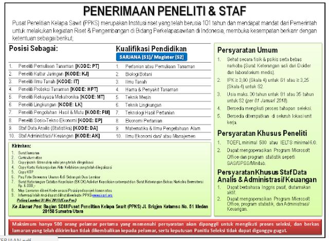 Rekrutmen Peneliti dan Staf Pusat Penelitian Kelapa Sawit 2018