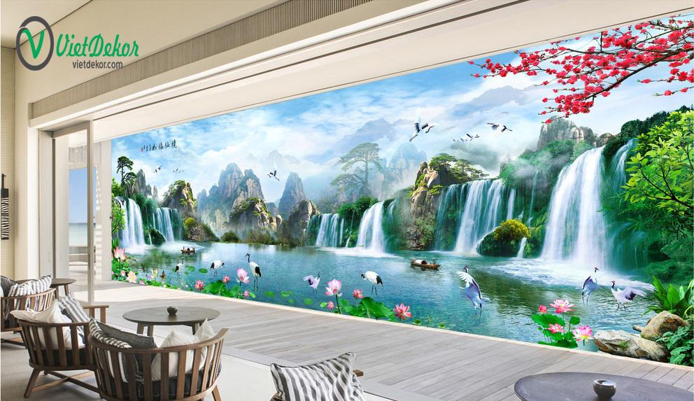 Tranh dán tường 3d phong thủy thác nước chim hạc