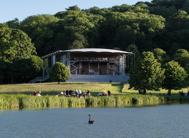 Garsington Opera Pavilion from across the lake - photo Clive Barda