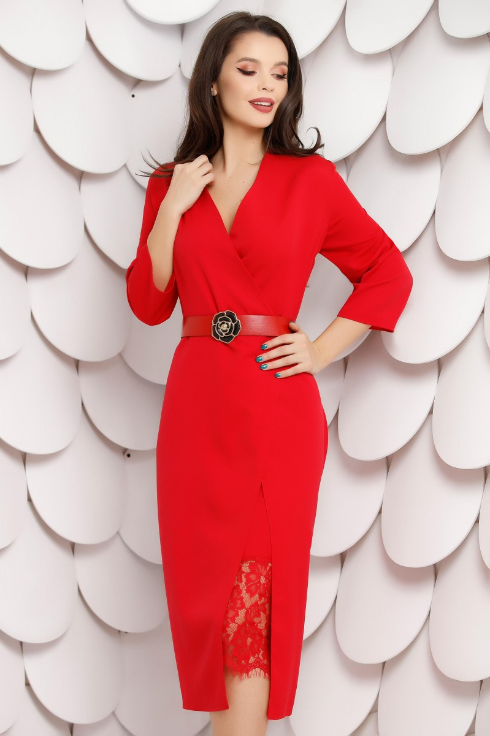 Rochie de ocazii pana la genunchi rosie petrecuta cu bordura din dantela
