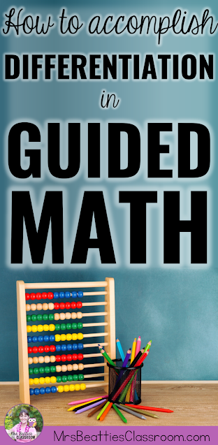 """Image of math tools with text, """"How to Accomplish Differentiation in Guided Math."""""""