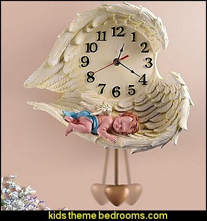Sleeping Angel Polyresin Wall Clock with Pendulum  mythology theme bedrooms - greek theme room - roman theme rooms - angelic heavenly realm theme decorating ideas - Greek Mythology Decorations - heavenly wall murals - asngel wings decor - angel theme bedrooms