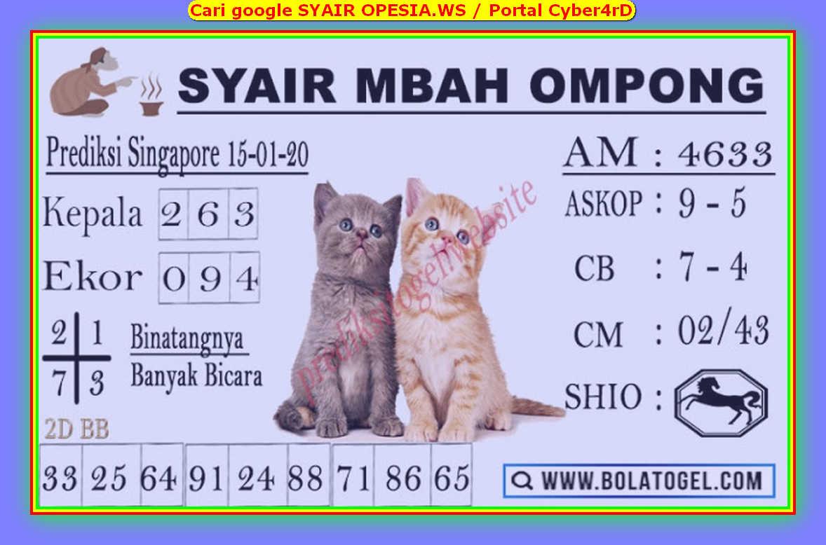Kode syair Singapore Rabu 15 Januari 2020 163