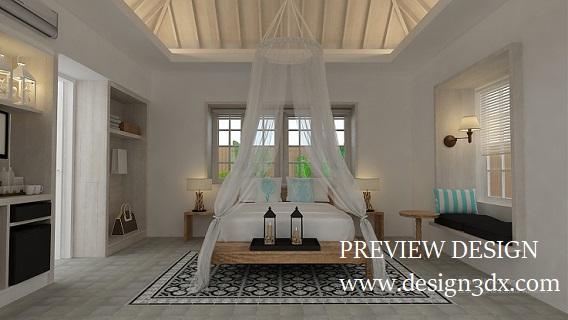 Jasa Desain 3dmax Online Kamar Tidur Vila Full Body Mirror