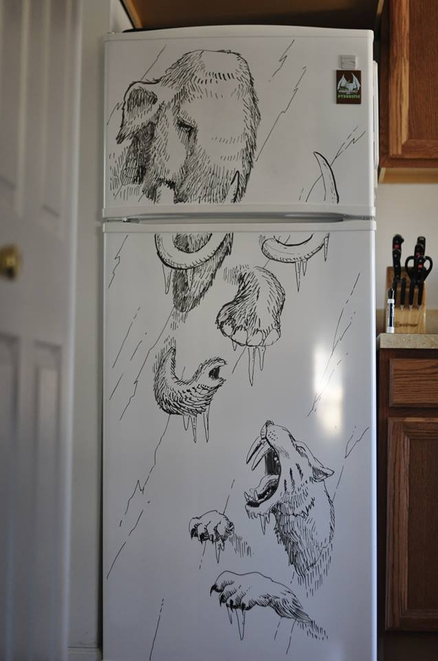 15-Mammoth-and-Saber-toothed-Tiger-Charlie-Layton-Freezer-Door-Drawings-and-Illustrations-www-designstack-co