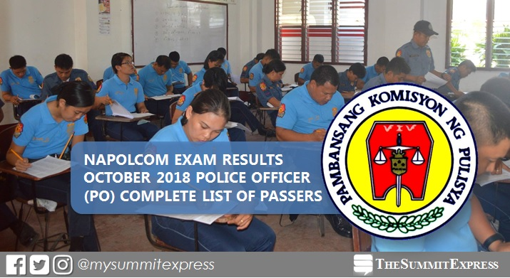 LIST OF PASSERS: Police Officer (PO) NAPOLCOM Exam Results October 2018