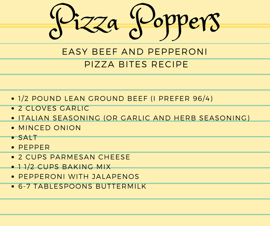 pizza recipe poppers ingredients sheet