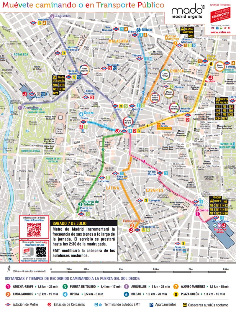 Mapa Lineas Emt Madrid.Plano De Transportes Fiestas Del Orgullo 2018 Muevete Caminando O En Transporte Publico Es Por Madrid