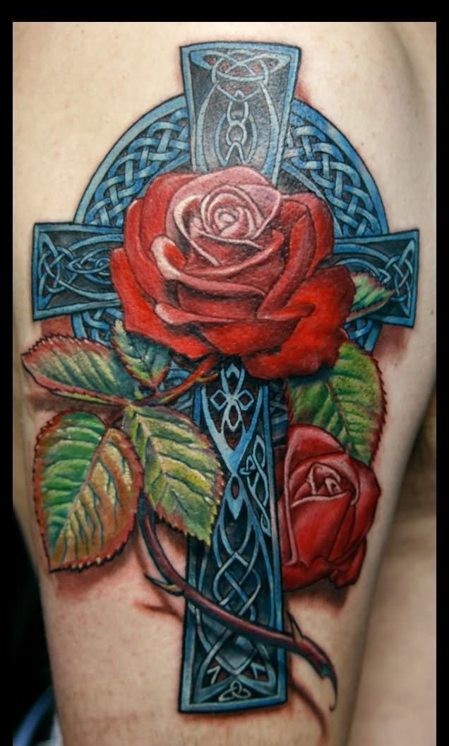 0cbf0e6ee2233 Fresh 3D Blue Celtic Cross And Red Rose Tattoos On Arm