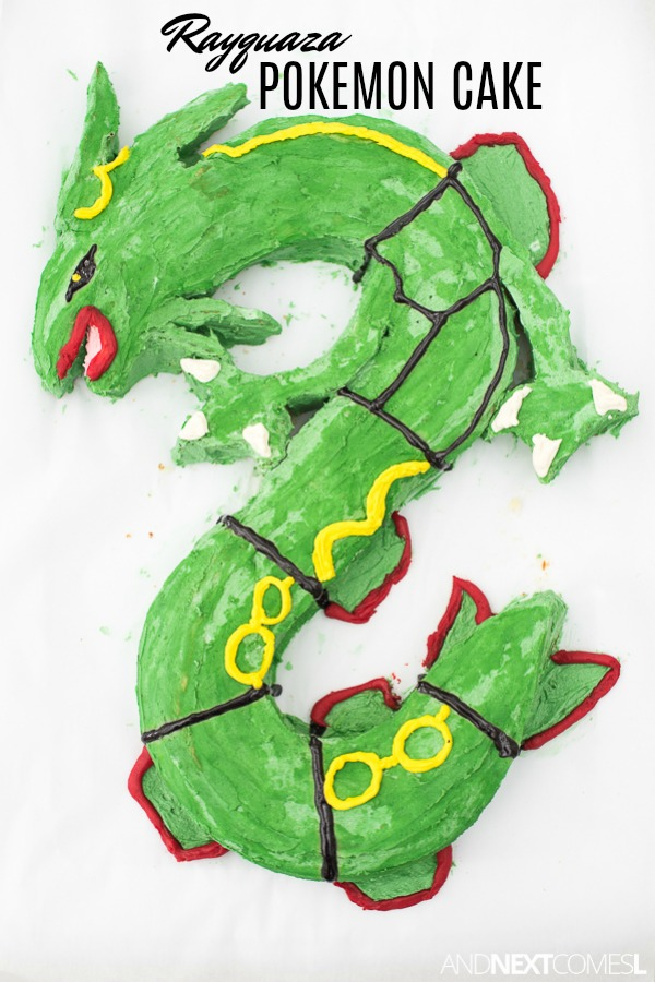 Rayquaza birthday cake tutorial: How to make a Pokemon birthday cake